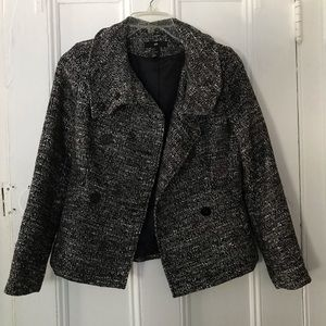 H&M Charcoal Tweed Peacoat with Faux Pockets